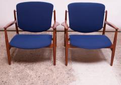 Finn Juhl Finn Juhl Teak Lounge Chairs Model FD 136 for France Daverkosen - 1290441