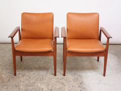 Finn Juhl Pair of Finn Juhl Diplomat Armchairs for France Son in Leather and Teak - 892143