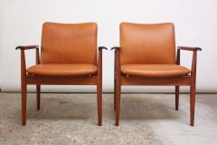 Finn Juhl Pair of Finn Juhl Diplomat Armchairs for France Son in Leather and Teak - 892145