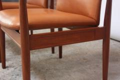 Finn Juhl Pair of Finn Juhl Diplomat Armchairs for France Son in Leather and Teak - 892146