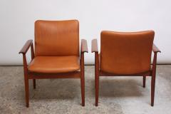 Finn Juhl Pair of Finn Juhl Diplomat Armchairs for France Son in Leather and Teak - 892155