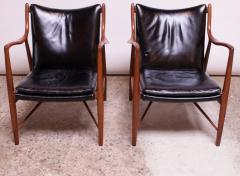 Finn Juhl Pair of Vintage Walnut and Leather 45 Lounge Chairs by Finn Juhl for Baker - 1397930