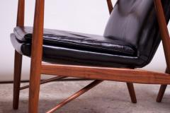 Finn Juhl Pair of Vintage Walnut and Leather 45 Lounge Chairs by Finn Juhl for Baker - 1397932