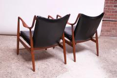 Finn Juhl Pair of Vintage Walnut and Leather 45 Lounge Chairs by Finn Juhl for Baker - 1397961
