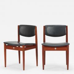 Finn Juhl Two Finn Juhl Model 197 Chairs Leather and Teak 60s - 1640667