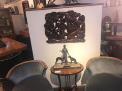 Fish Themed Wood Carved Art Deco Sculpture - 1386883