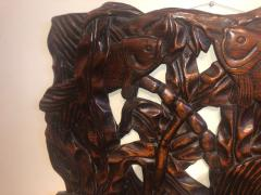 Fish Themed Wood Carved Art Deco Sculpture - 1386886