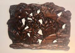 Fish Themed Wood Carved Art Deco Sculpture - 1386887