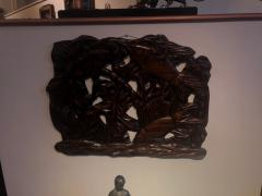 Fish Themed Wood Carved Art Deco Sculpture - 1386888