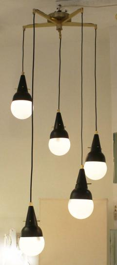 Five Pendant Fixture in the Manner of Stilnovo Italy 1950s - 101775