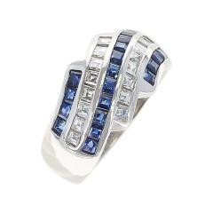 Five Row Linear Patterned Invisibly Set Sapphire and Diamond Ring Platinum - 1795455