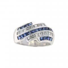 Five Row Linear Patterned Invisibly Set Sapphire and Diamond Ring Platinum - 1797666