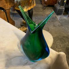 Flavio Poli 1970s Modernist Blue and Green Heavy Murano Glass Vase by Fabio Poli for Seguso - 2095000