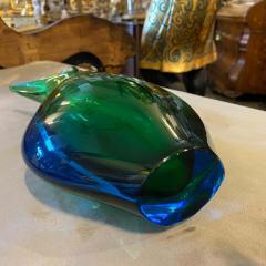 Flavio Poli 1970s Modernist Blue and Green Heavy Murano Glass Vase by Fabio Poli for Seguso - 2095002