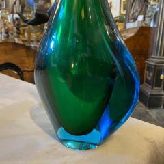 Flavio Poli 1970s Modernist Blue and Green Heavy Murano Glass Vase by Fabio Poli for Seguso - 2095003