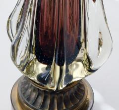 Flavio Poli Large Murano Flavio Poli for Seguso Sommerso 1950s Aubergine Fin Lamp - 1828454