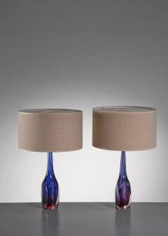Flavio Poli Pair of purple and blue Arte Nuova Murano glass table lamps - 1702363