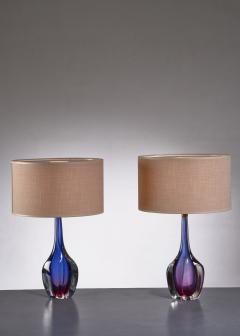 Flavio Poli Pair of purple and blue Arte Nuova Murano glass table lamps - 1702364