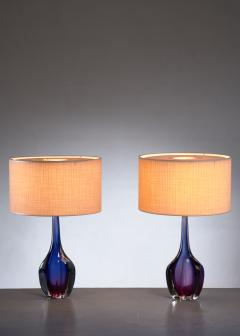 Flavio Poli Pair of purple and blue Arte Nuova Murano glass table lamps - 1702365
