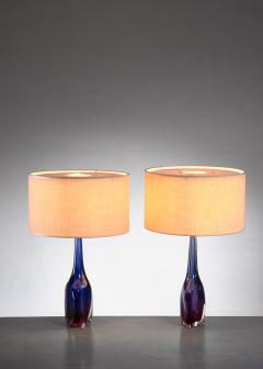 Flavio Poli Pair of purple and blue Arte Nuova Murano glass table lamps - 1702366