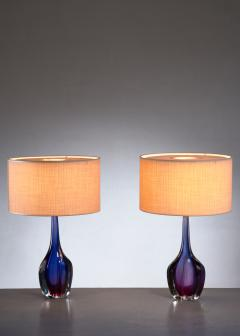 Flavio Poli Pair of purple and blue Arte Nuova Murano glass table lamps - 1702367