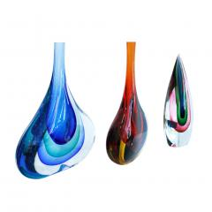 Flavio Poli Set of Three Flavio Poli Murano Glass Italian Vases - 1436348