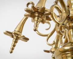 Flemish Brass Six Arm Chandelier - 1241801