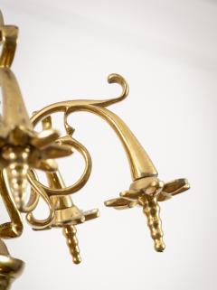 Flemish Brass Six Arm Chandelier - 1241804