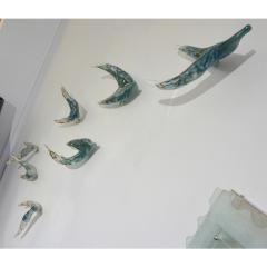 Flight of Aquamarine Birds Contemporary Blown Glass Modern Art Wall Sculpture - 978181