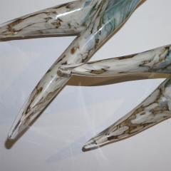 Flight of Aquamarine Birds Contemporary Blown Glass Modern Art Wall Sculpture - 978185
