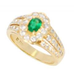 Floral Cluster Emerald and Diamond Ring 18 Karat Yellow Gold - 1795343