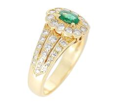 Floral Cluster Emerald and Diamond Ring 18 Karat Yellow Gold - 1795345