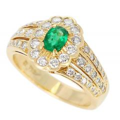 Floral Cluster Emerald and Diamond Ring 18 Karat Yellow Gold - 1795346