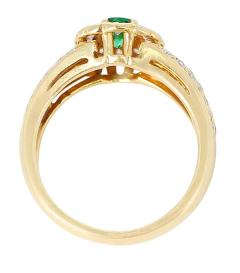 Floral Cluster Emerald and Diamond Ring 18 Karat Yellow Gold - 1795347