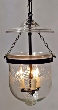 Floral Etched Bell Jar Lantern Circa 1850 England - 1687553