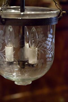 Floral Etched Bell Jar Lantern Circa 1850 England - 1687554