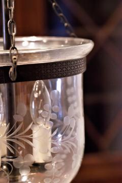 Floral Etched Bell Jar Lantern Circa 1850 England - 1687556