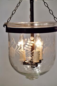 Floral Etched Bell Jar Lantern Circa 1850 England - 1687560
