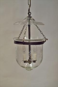 Floral Etched Bell Jar Lantern Circa 1850 England - 1687561