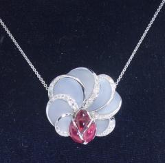 Floral Motif 18K white gold pendant - 1141470