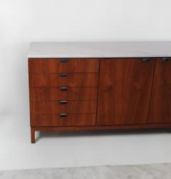 Florence Knoll 1960s Florence Knoll Book Matched Walnut Buffet with Calacatta Gold Marble Top - 1017275