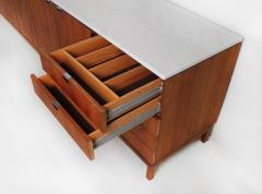 Florence Knoll 1960s Florence Knoll Book Matched Walnut Buffet with Calacatta Gold Marble Top - 1017279