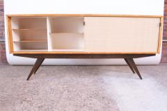 Florence Knoll Early Florence Knoll Credenza Cabinet in Mahogany Birch and Grasscloth - 1334630