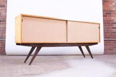 Florence Knoll Early Florence Knoll Credenza Cabinet in Mahogany Birch and Grasscloth - 1334631