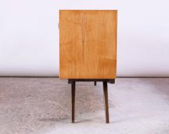 Florence Knoll Early Florence Knoll Credenza Cabinet in Mahogany Birch and Grasscloth - 1334632