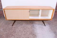 Florence Knoll Early Florence Knoll Credenza Cabinet in Mahogany Birch and Grasscloth - 1334633