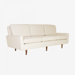 Florence Knoll Early Florence Knoll Three Seat Model 26 Sofa In Ivory Luxe  Suede   471760