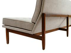 Florence Knoll Florence Knoll Armless Three Seat Sofa with Walnut Frame and New Gray Upholstery - 902206
