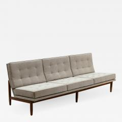 Florence Knoll Florence Knoll Armless Three Seat Sofa with Walnut Frame and New Gray Upholstery - 903968