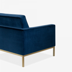 Florence Knoll Florence Knoll Lounge Chairs in Navy Velvet Brushed Brass Pair - 1625094